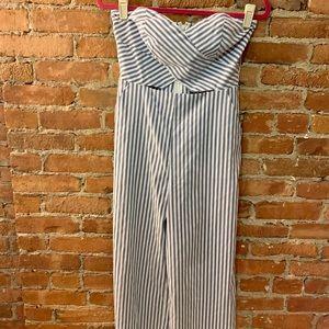 Blue & White Striped Strapless Jumpsuit w/ Cutout